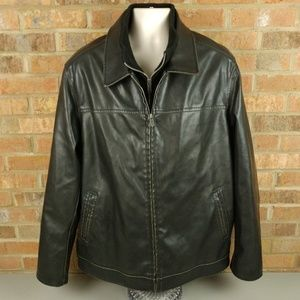 Columbia Faux Vegan Leather Brown Lined Jacket